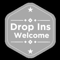 Drop-Ins-Welcome badge